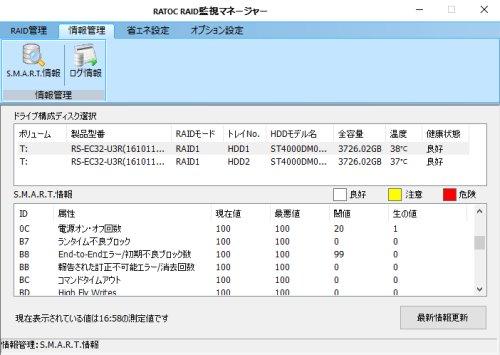 監視マネージャーから1台ずつのHDDステータス確認可能