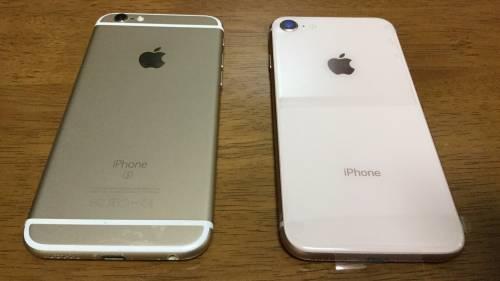 ゴールドのiPhone6sと8比較